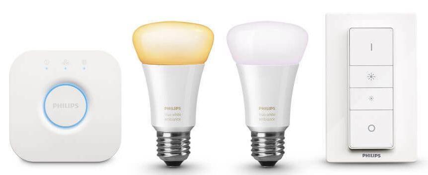 2er Pack Philips Hue White Ambiance E27 Bluetooth Leuchten + Schalter + Bridge für 63,66€ (statt 75€)