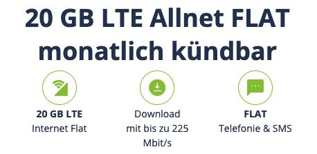 o2 Allnet Flat mit 20GB LTE 225 MBit inkl. VoLTE & WLAN Call für 14,99€ mtl. (statt 30€)   inkl. 4 Monate Deezer