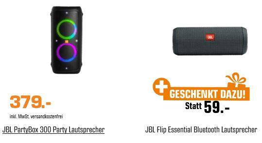 JBL PartyBox 300 Party Lautsprecher + JBL Flip Essential Bluetooth Lautsprecher für 379€ (statt 431€)