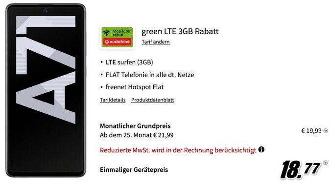Samsung Galaxy A71 128GB für 18,77€ + Vodafone Flat mit 3GB LTE für 19,99€mtl.