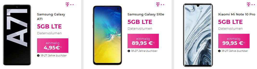 MagentaMobil 5GB LTE, Allnet Flat inkl. Samsung Galaxy A71 für 4,95€ & Disney+ für 34,95€ mtl