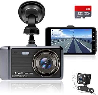Abask D 01   1080p Dashcam mit 170° Weitwinkel & 32GB SD Karte inkl. Rückkamera für 24,99€ (statt 50€)