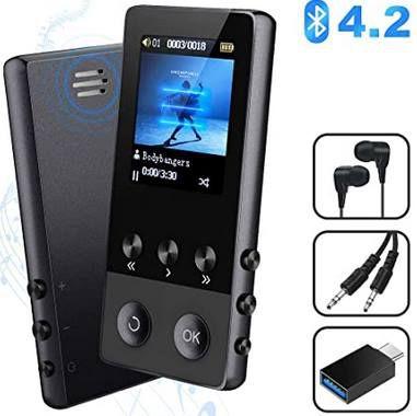 BT 4.2 MP4 Player mit 1,8 Zoll Display, Radio, Kopfhörer & OTG Adapter für 19,79€