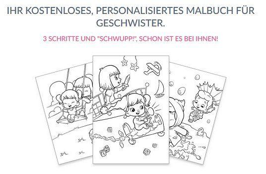 Personalisiertes Malbuch für Geschwisterkinder gratis als PDF