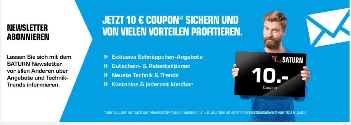 Bei Saturn mit Newsletter 10€ ab 100€ Warenwert sparen