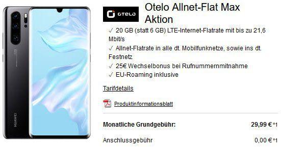 Huawei P30 Pro für 13€ + Vodafone Flat mit 20GB LTE für 29,99€mtl.