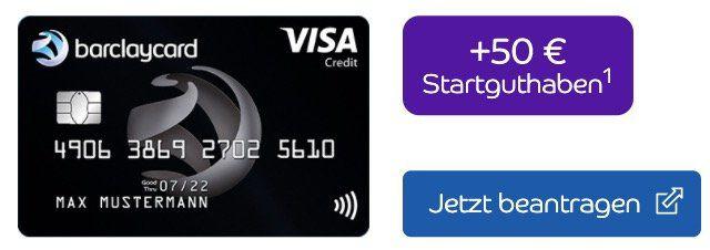 Barclaycard Visa mit 50€ Startguthaben + ein Leben lang keine Jahresgebühr