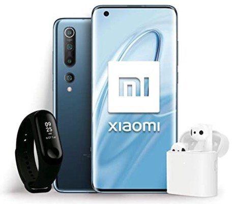 Xiaomi Mi 10 Starter Pack (Smartphone, Mi Band 3, True Wireless Earphone 2) für 690,26€ (statt 844€)