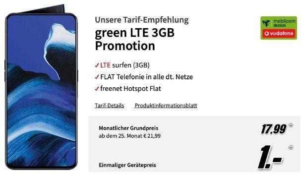 Oppo Reno 2 256GB für 1€ mit Vodafone Allnet Flatrate mit 3GB LTE 21,6 für 17,99€ mtl.