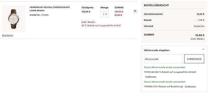 Fossil Herrenuhr Neutra Chronograph mit braunem Lederarmband für 43,86€ (statt 97€)
