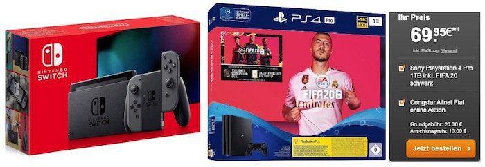 PS4 Pro oder Nintendo Switch (neue Edition) für 69,95€ + Telekom Flat von Congstar mit 8GB LTE für 20€ mtl.