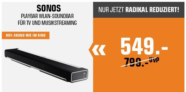 Saturn Osterbonus Aktion   z.B. Sonos Playbar Wireless Soundbar für 549€ (statt 633€)