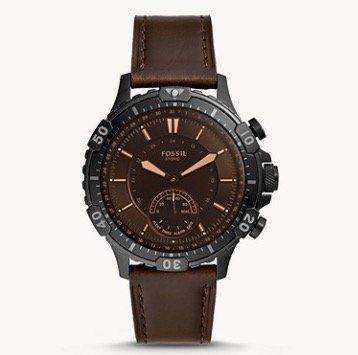 Fossil Garret Hybrid Smartwatch mit braunem Leder Armband für 72,25€(statt 169€)