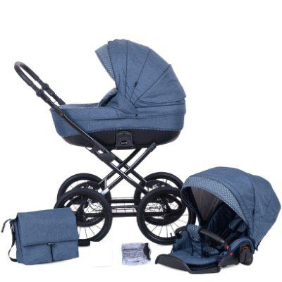 Knorr Baby Kombi Kinderwagen Kreta inkl. 9 teiligem Set in Blau mit Punkten für 407,53€ (statt 488€)
