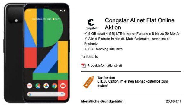 Google Pixel 4 für 99€ mit Telekom Netz Allnet Flat mit 8GB LTE50 für 23€ mtl.