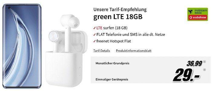 Xiaomi Mi 10 Pro & Xiaomi Mi Airdots für 29€ + Vodafone Flat mit 18GB LTE für 36,99€ mtl.