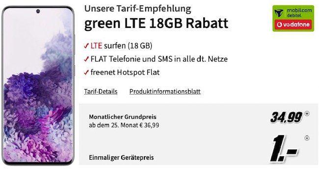 Samsung Galaxy S20 für 1€ + Vodafone Flat mit 18GB LTE für 34,99€ mtl.
