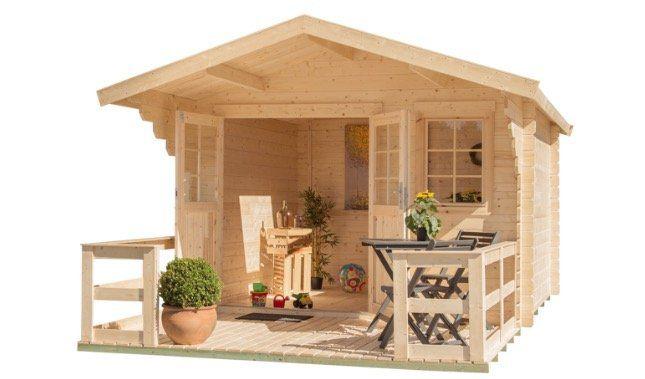 Kiehn Holz Gartenhaus Kallenberg2 in 350x441cm inkl. Terrasse, Vordach und Fußboden für 1.189,99€ (statt 1.400€)
