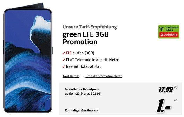 Oppo Reno 2 256GB für 1€ (statt 400€) mit Vodafone Allnet Flat mit 3GB LTE für 17,99€ mtl.
