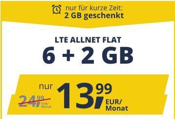 Vodafone Flat von freenet Mobile mit 8GB LTE für 13,99€ mtl. + monatlich kündbar