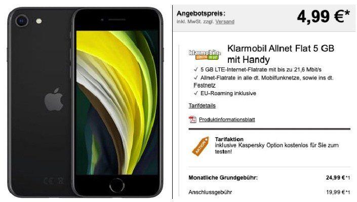 Apple iPhone SE (2020) 64GB für 4,99€ oder 128GB für 49€ + Vodafone Flat mit 5GB LTE für 24,99€ mtl.