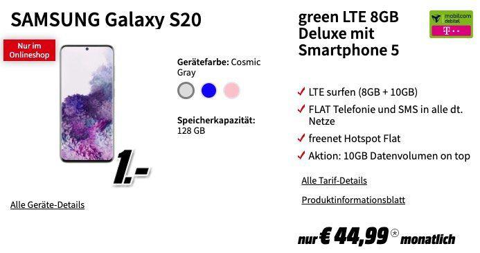 Samsung Galaxy S20 / S20+ Tarif Deals   z.B. mit Telekom Flat 18GB LTE für 44,99€ mtl.