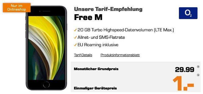 Apple iPhone SE 2020 mit 64GB für 1€ mit O2 Allnet Flat mit 20GB LTE für 29,99€ mtl.