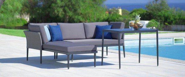 Lounge Garnitur Madlen in Grau inklusive Tisch und Kissen für 150€ (statt 280€)