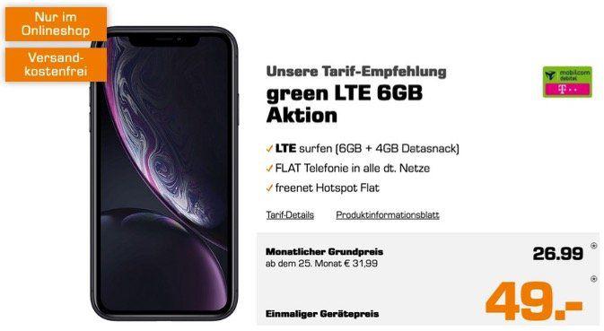 Apple iPhone XR für 49€ + Allnet Flatrate im Telekom Netz mit 10GB LTE für 26,99€mtl