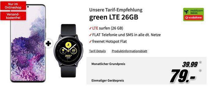 Galaxy S20 Plus 128GB + Watch Active für 79€ + Vodafone Flat mit 26GB LTE für 39,99€ mtl.