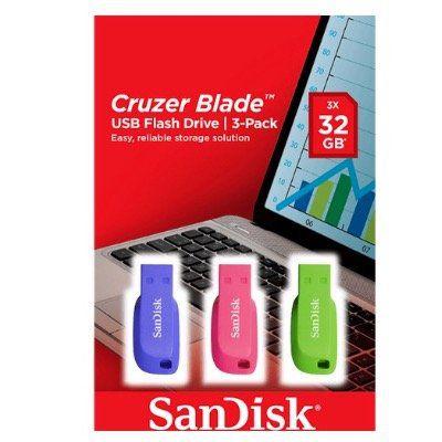 SanDisk Cruzer Blade 32GB im 3-Pack in verschiedenen Farben für 11€ (statt 15€)
