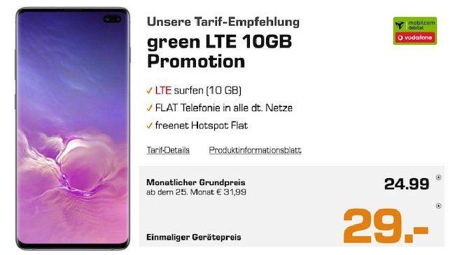Ausverkauft! Samsung S10 Plus Weiss + Galaxy Buds für 29€ + Vodafone Flat mit 10GB LTE für 24,99€ mtl.