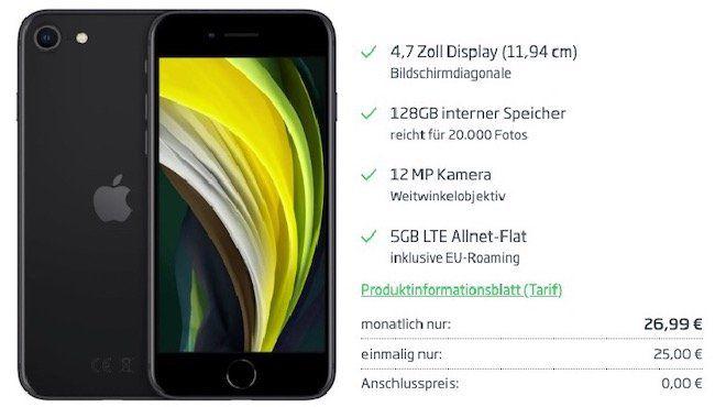 HOT! 🔥 Apple iPhone SE (2020) 128GB für 25€ + o2 Flat mit 5GB LTE für 26,99€ mtl.