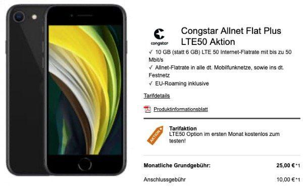 Apple iPhone SE 2020 mit 64GB für 49€ + Telekom Allnet Flat von Congstar mit 10GB LTE ab 25€ mtl.
