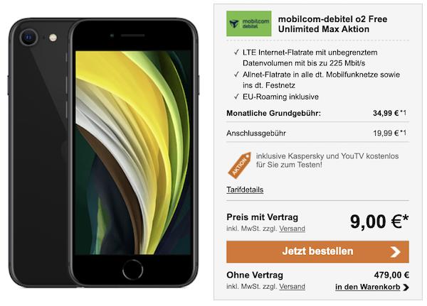 Apple iPhone SE (2020) 64GB für 9€ + o2 Flat mit unlimited LTE für 34,99€ mtl.