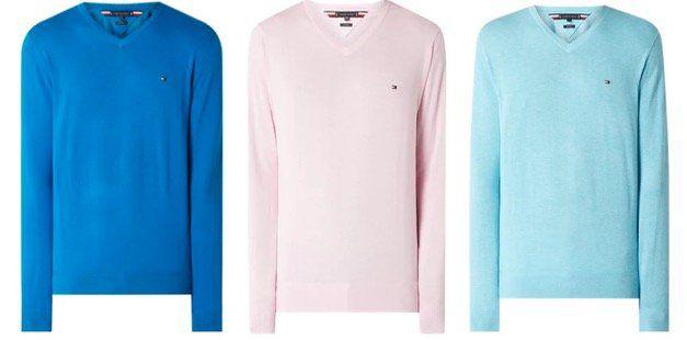Tommy Hilfiger Pullover mit V Ausschnitt aus Bio Baumwolle und Seide in 3 Farben für 59,99€ (statt 87€)