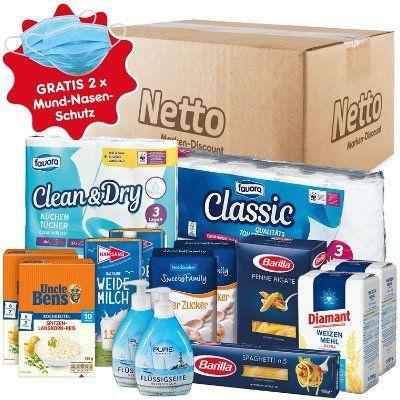 Netto Notfall Paket: Zucker, Mehl, Reis, Pasta, Milch, Klopapier und Flüssigseife für 24,95€ + 2x Mundschutz