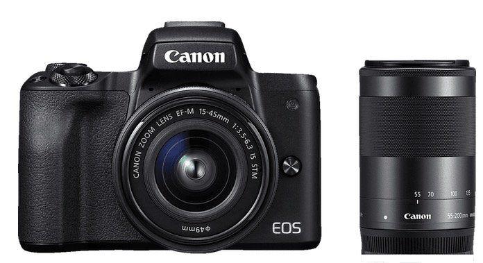 CANON EOS M50 Systemkamera 24.1 MP als Kit mit 15 45mm und 55 200mm ab 639€ (statt 869€)