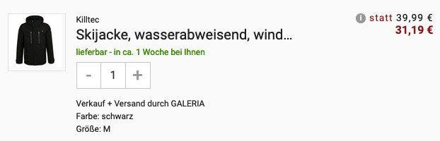 Killtec Skijacke wasserabweisend und winddicht in Schwarz für 31,19€