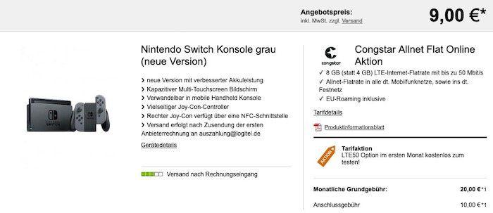 PS4 Pro Bundle oder Nintendo Switch (neue Edition) ab 9€ + Telekom Flat von Congstar mit 8GB LTE für 23€ mtl.