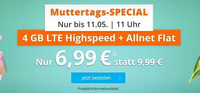 Muttertags Knaller: Sim.de o2 Allnet Flat mit 4GB LTE für 6,99€ (statt 10€)  6GB für 8,99€ (statt 15€)