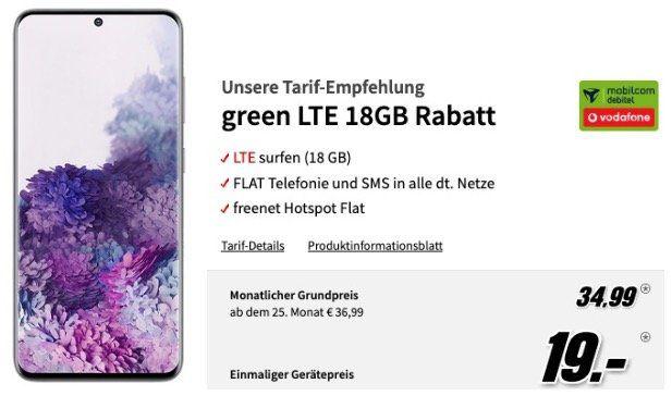 Samsung Galaxy S20 128GB für 19€ + Vodafone Allnet Flat mit 18GB LTE50 für 34,99€ mtl.