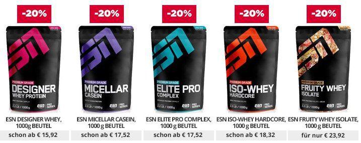 20% auf alle Produkte bei fitmart   z.B. ESN Whey ab 15,92€ (statt 22€)