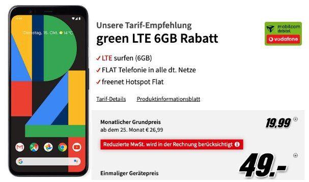 Google Pixel 4 für 49€ (Vergleich 475€) + Vodafone Flat mit 6GB LTE50 für 19,99€ mtl.