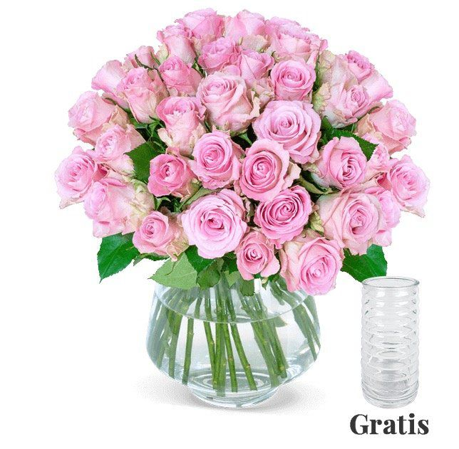 25 roséfarbene Rosen für 24,98€ + gratis Vase
