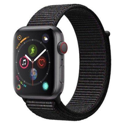 Apple Watch Series 4 LTE 44mm mit Aluminiumgehäuse und schwarzem Sportloopband für 388,94€ (statt 479€)