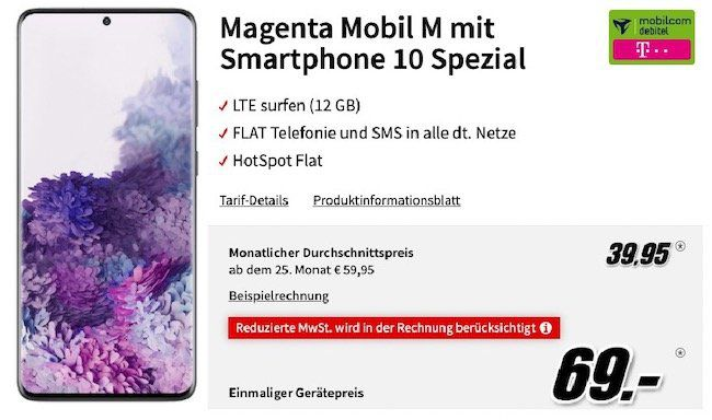 Samsung Galaxy S20 Plus für 69€ + Telekom Allnet Flat mit 12GB LTE inkl. StreamOn Music für 39,95€ mtl.