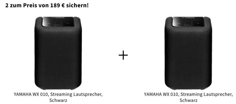 2x Yamaha WX 010 Black MusicCast Netzwerklautsprecher für 189€ (statt 242€)