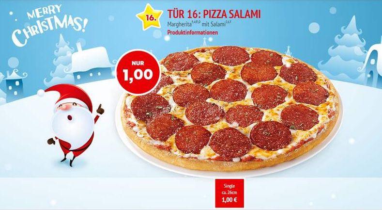 Call a Pizza: Pizza Salami 26cm nur heute für 1€(Käserand 2€ Aufpreis)