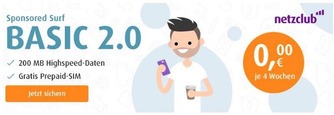 Netzclub: Gratis o2 SIM + dauerhaft 200MB LTE jeden Monat kostenlos
